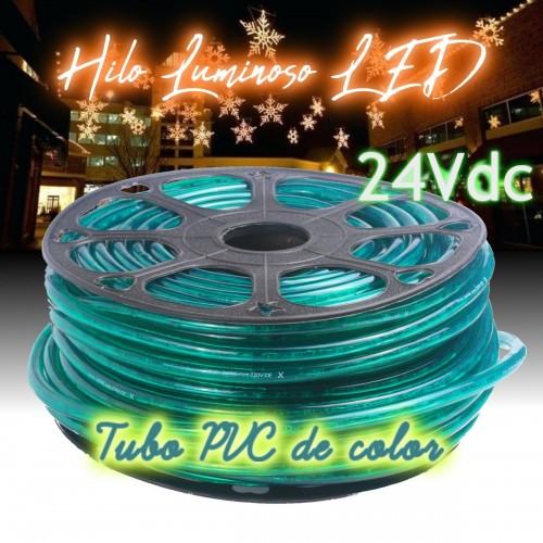 Hilo luminoso LED y PVC Verde exterior corte 16cm 24Vdc 20m
