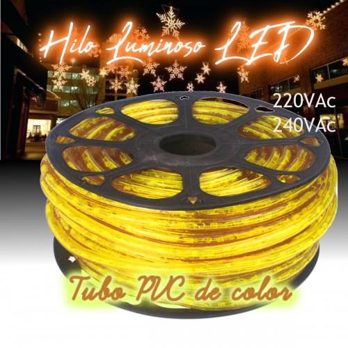 Hilo luminoso LED y PVC AMARILLO INTENSO exterior corte 16cm 24Vdc 20m