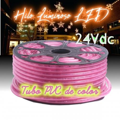 Hilo luminoso  LED y PVC ROSA exterior corte 16cm 24Vdc 20m