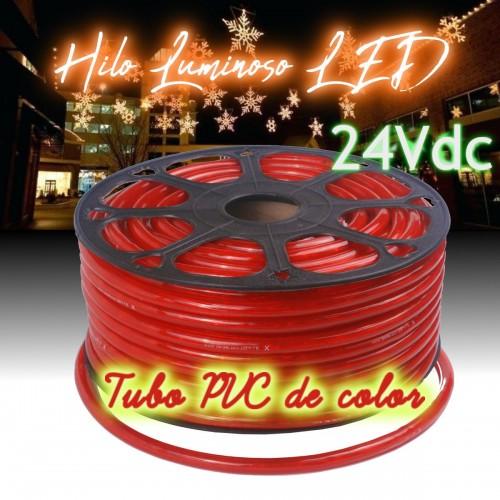 Hilo luminoso LED y PVC ROJO exterior corte 16cm 24Vdc 20m