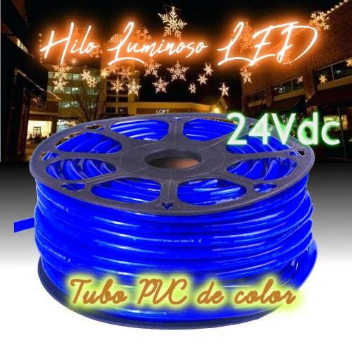 Hilo luminoso LED y PVC AZUL exterior corte 16cm 24Vdc 20m