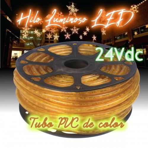 Hilo luminoso LED y PVC AMARILLO exterior corte 16cm 24Vdc 20m