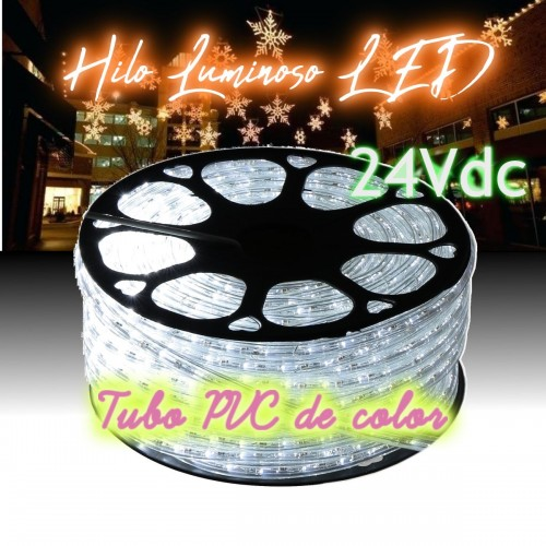 Hilo luminoso LED 6000K FLASH PVC Transparente exterior corte 16cm 24Vdc 20m