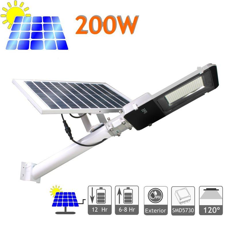 Farola solar 200W panel orientable 4200K exterior ion-litio
