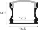 Perfil aluminio led superficie 16x14 con tapa JND-70527