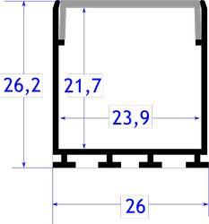 Perfil aluminio superficie colgante 26 mm tapa