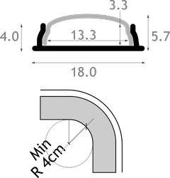 Perfil aluminio led flexible 18x4 JND-70530