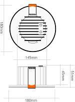 downlight led redondo empotrar 18W 6000K medidas
